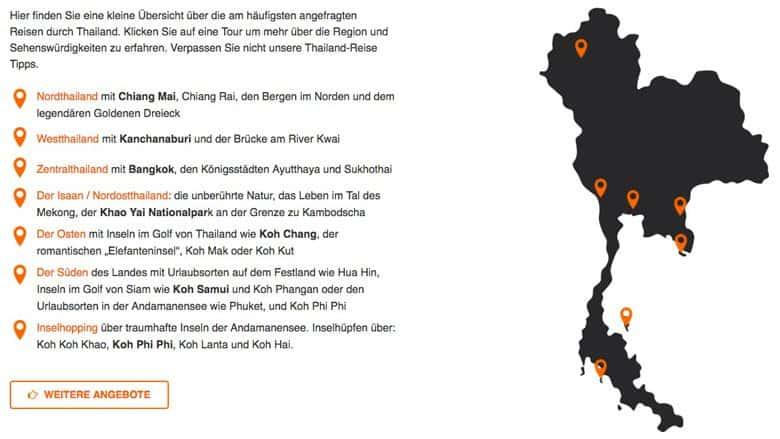 Map auf Thailand-Rundreisen.com