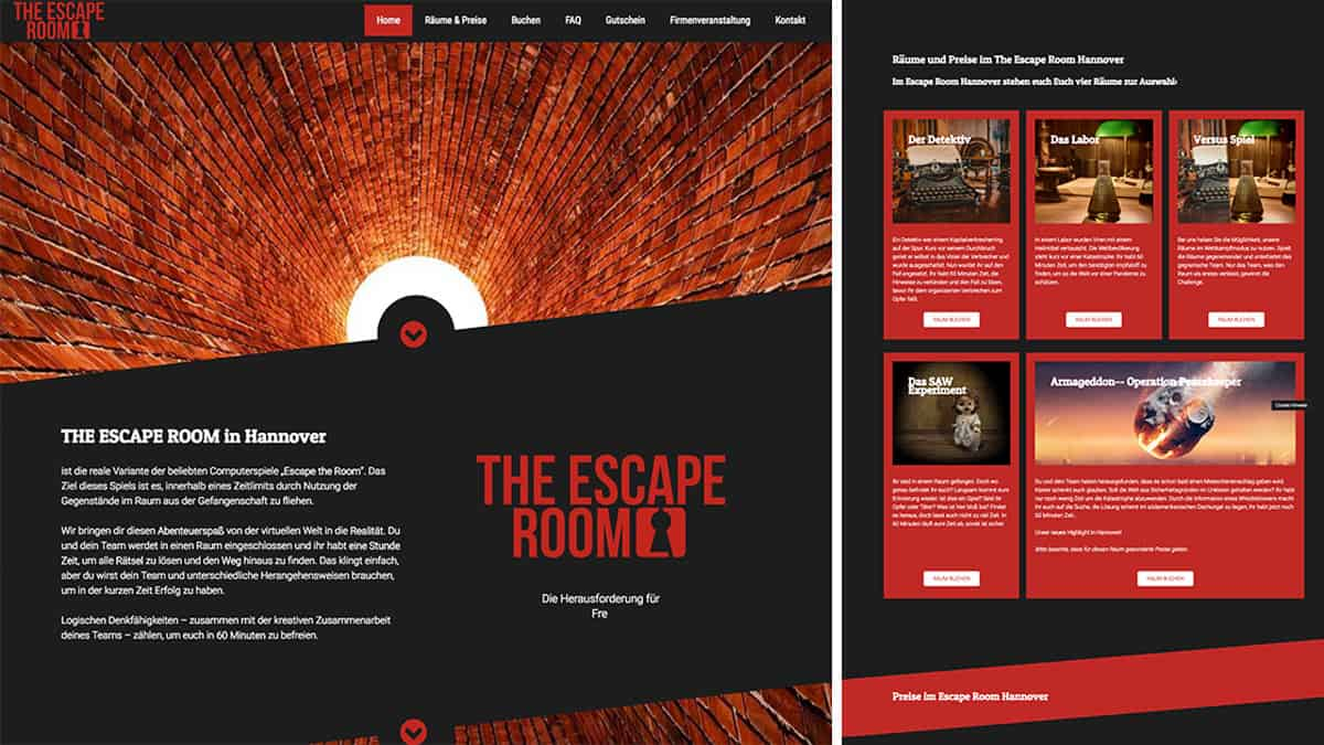 Website und SEO für The Escape Room