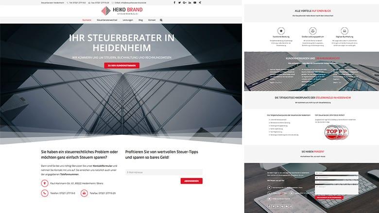 Die Website der Steuerkanzlei Heiko Brand