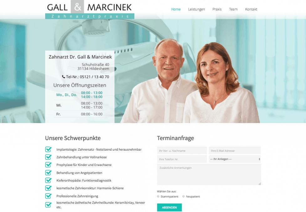 Bild von der Startseite von SEO optimierte Website www.zahnarzt-gall.de