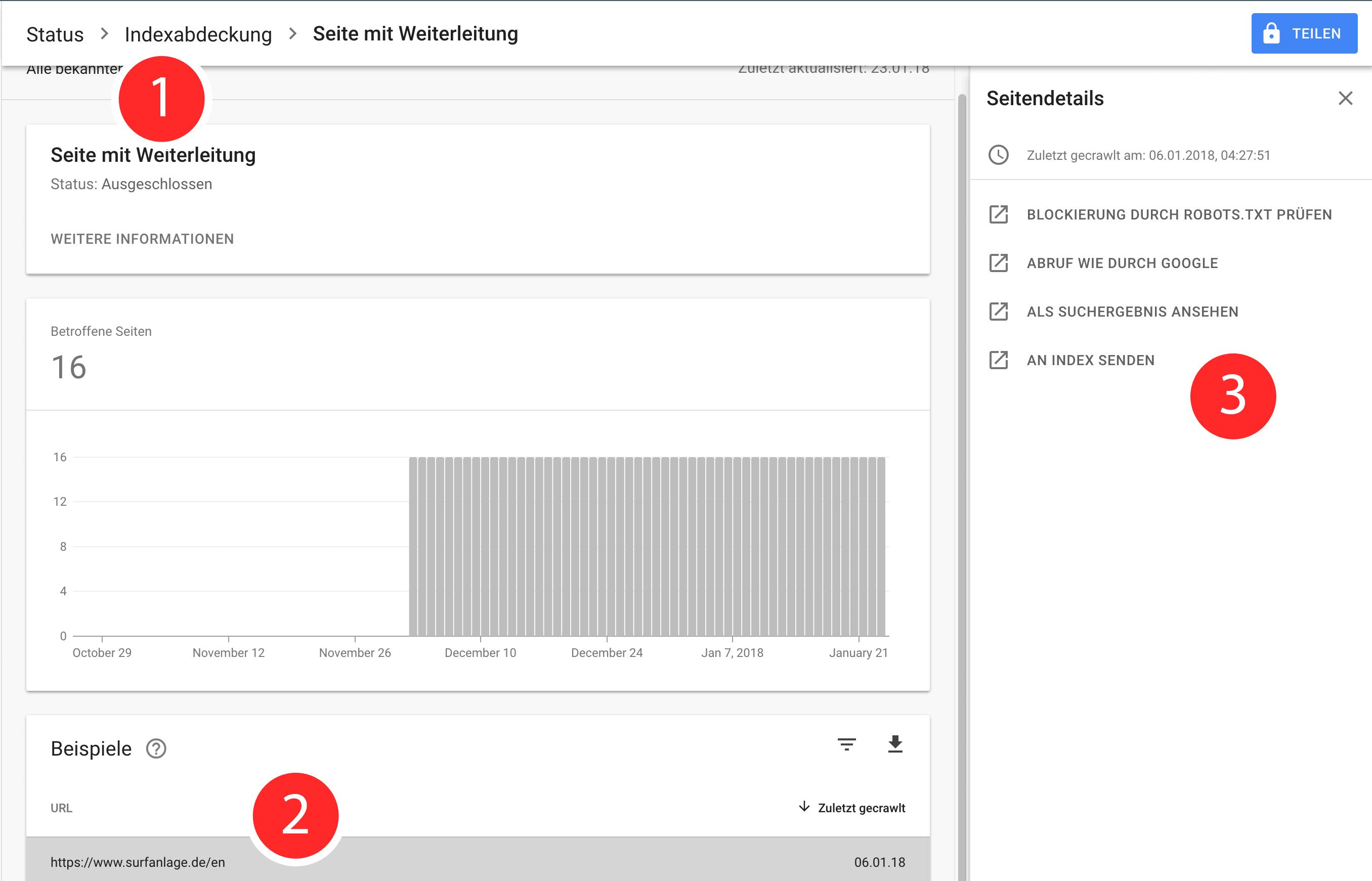 Die Indexabdeckung für eine Seite in der Suchkonsole untersuchen