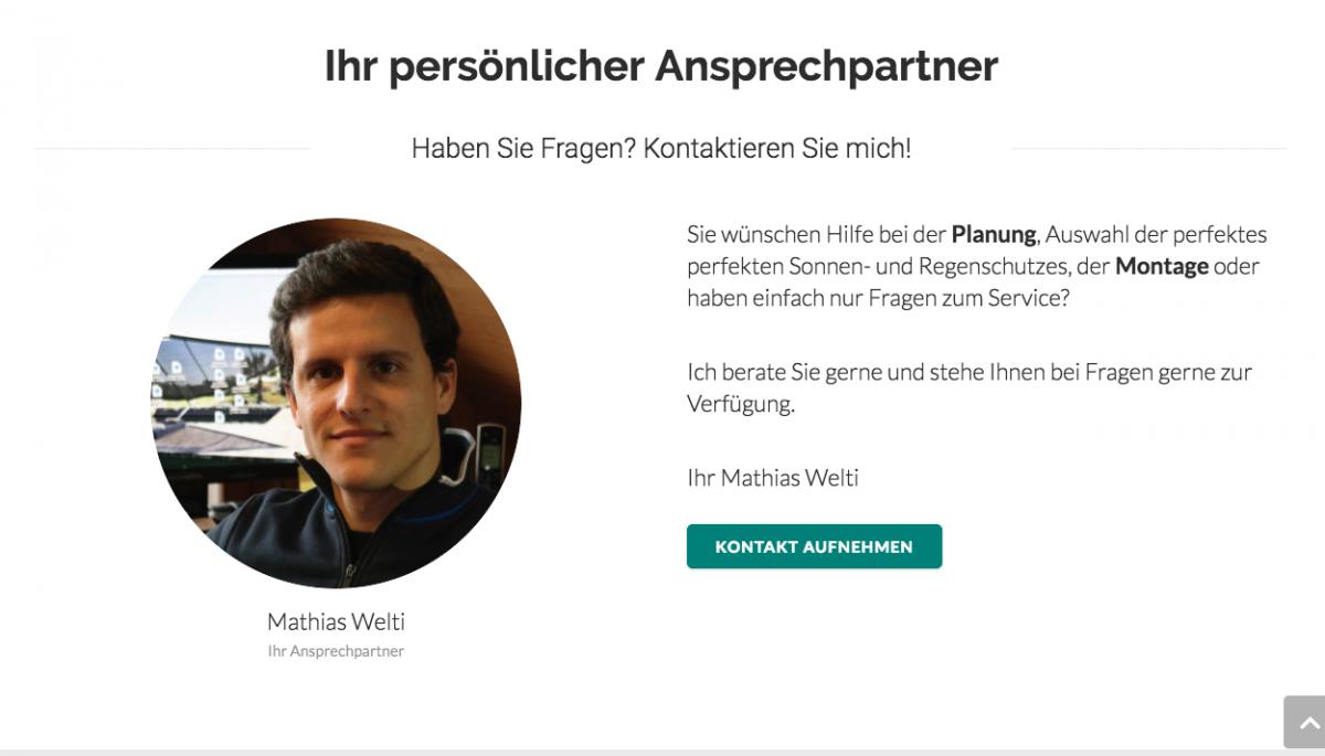 Eine personalisierte Kontaktzeile auf der Startseite von Elitextur.