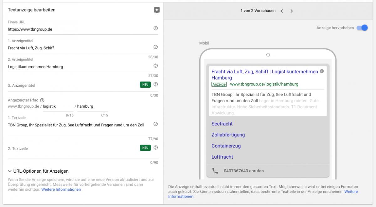 Die Google Ads Kampagnen der TBN Group und ihre Anzeigenerweiterungen