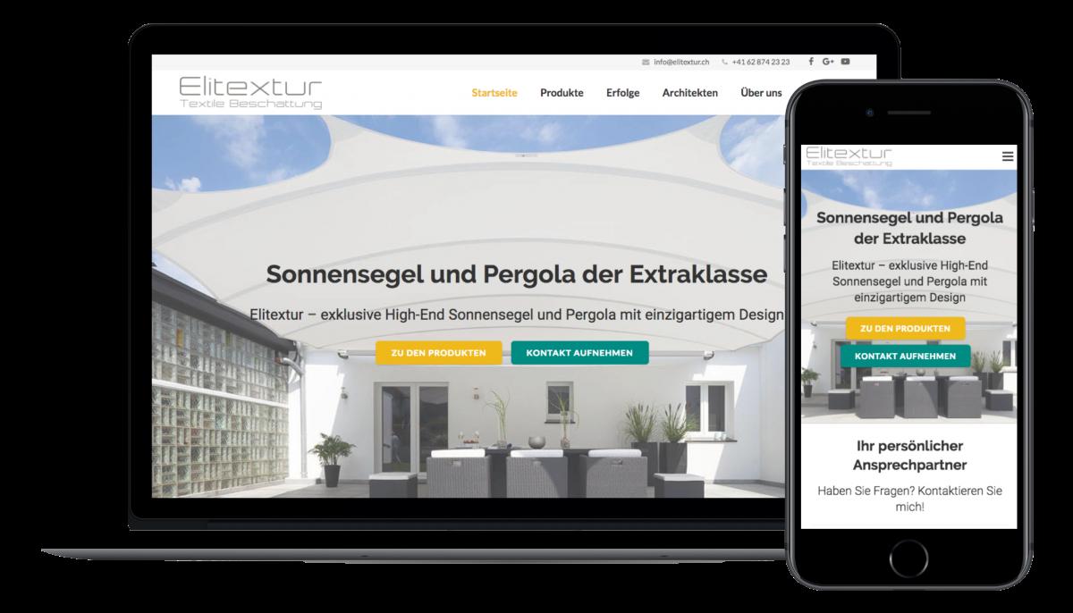 Der Elitextur Startseiten Content, in der mobilen und der Desktop Version.